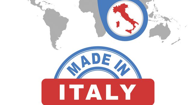 Made in Italy stamp. World map with red country. Vector emblem in flat style on white background.