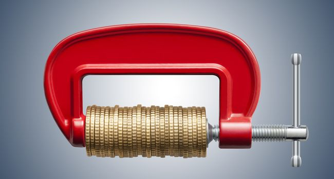 Money squeeze. Clamp with coins.