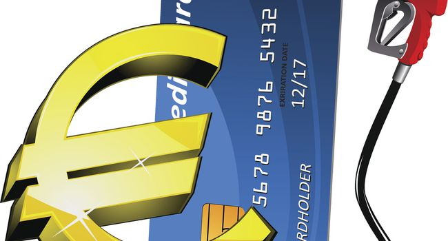 Credit card with gasoline nozzle and euro sign