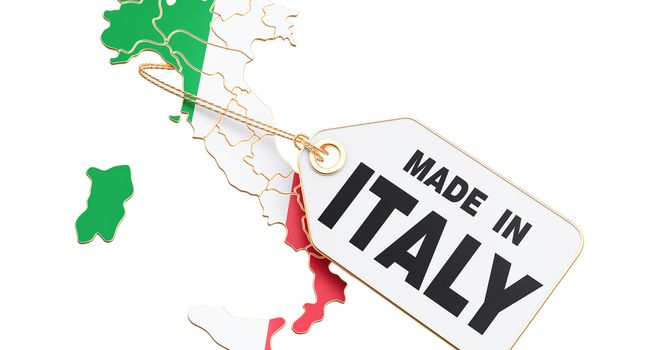 Made in Italy concept, 3D rendering isolated on white background