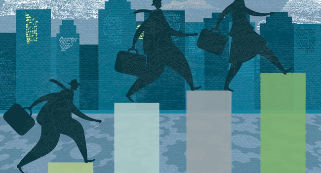 Three business person silhouettes – competitive investment growth targets