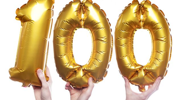 Gold number 100 balloons
