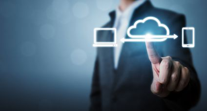Cloud computing and technology network connection concept, Businessman hand holding icon cloud server tranfer data device