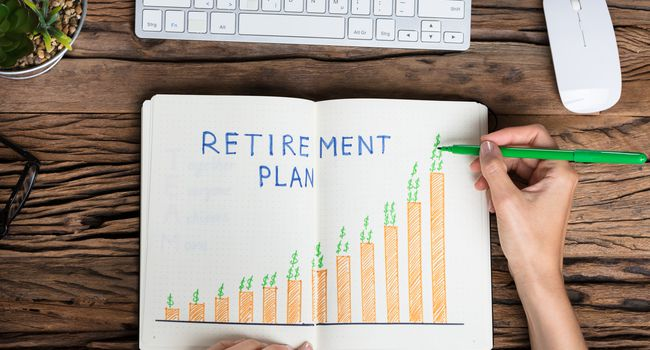 Human Hand Drawing Retirement Plan Growth Concept
