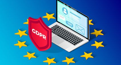 GDPR isometric illustration with laptop