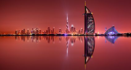 Dubai skyline reflection, Dubai, United Arab Emirates