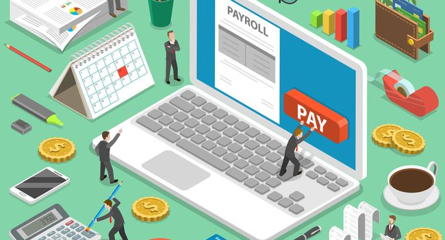 Payroll flat isometric vector concept.