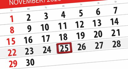 Calendar planner for the month november 2020, deadline day, 25, wednesday