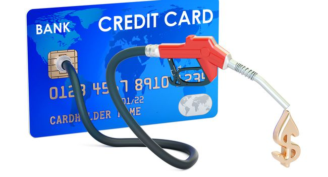 Credit card with fuel pump nozzle, 3D rendering