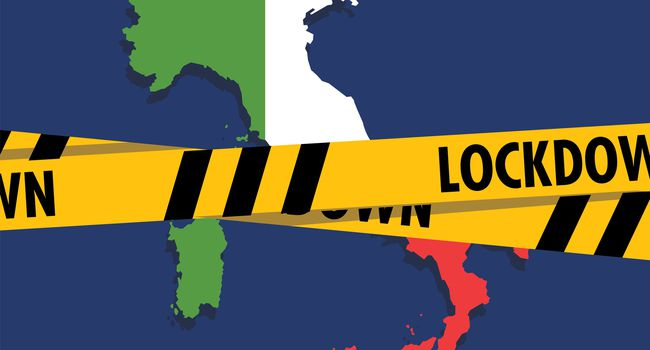 Italy map with lockdown tape