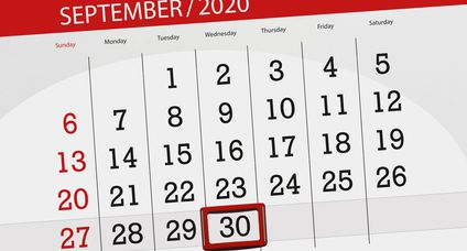 Calendar planner for the month september 2020, deadline day, 30, wednesday
