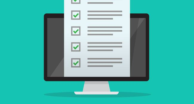 Online Survey Questionnaire on Desktop Computer and Document Form with green checkmark Illustration