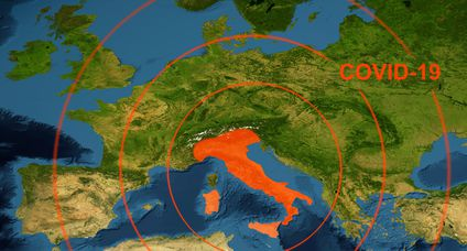 Coronavirus epidemic, word COVID-19 on Europe map. Novel coronavirus outbreak in Italy, the spread of corona virus in the World.