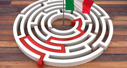 ITALIAN Flag on Maze – 3D Rendering