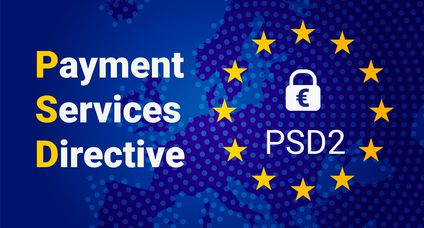 PSD2 – Payment services directive. Vector EU flag and map