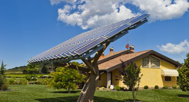 House with Photovoltaic System Tree