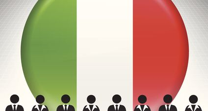 Italy Flag Button with Business Concept Stick Figures