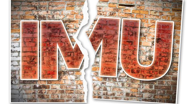 IMU (which means Unique Municipal Tax) the most unpopular italian tax on land and buildings – concept image against a brick wall with ripped photo