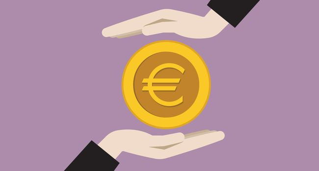 Two businessman hands with a euro coin