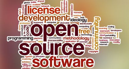 Open source word cloud with abstract background