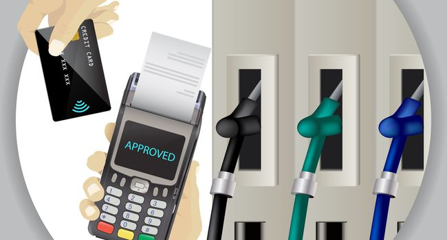 Fuel Dispenser And Fuel Nozzles At A Filling Station To Pump Petrol, Gas, Diesel. Contactless Wireless Credit Card Payment And Pos Terminal. Pay For Fuel Concept. Petrol Pumps. Vector