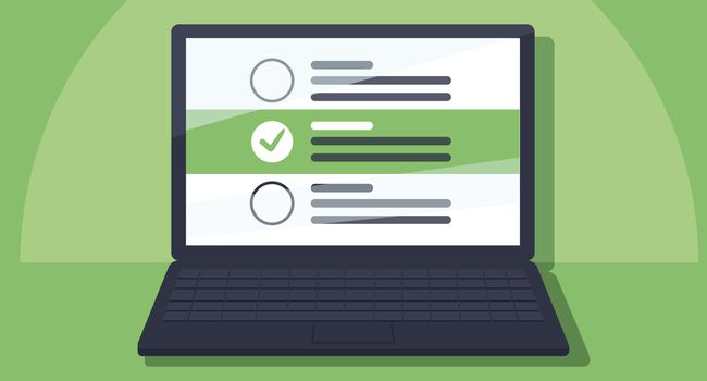 Laptop and checkboxes with check mark. Checklist, white tick on laptop screen. Choice, survey concepts.