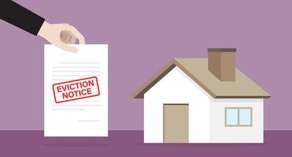 House with an eviction notice document